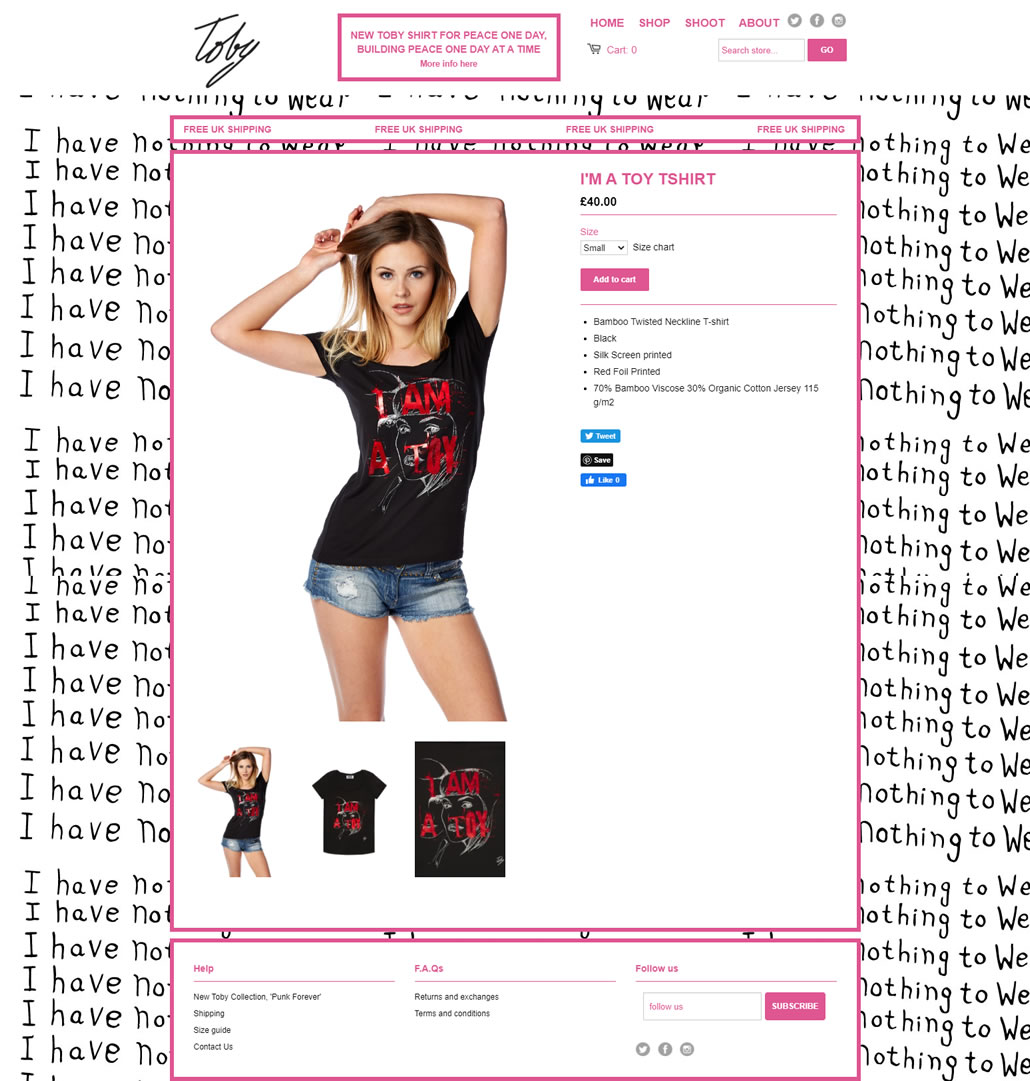 Toby Shop built using Shopify, web design by Convoy Media, Ecommerce