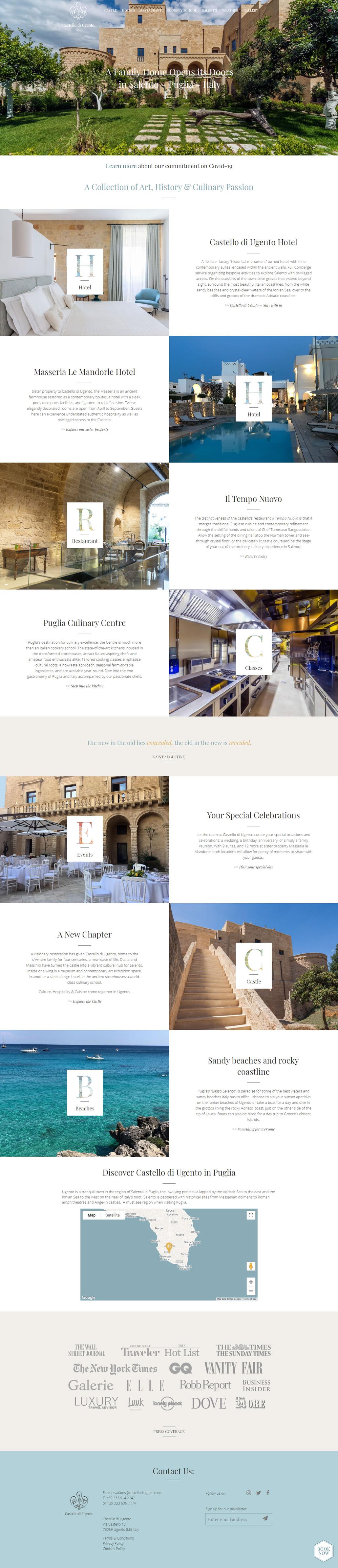 Castello di Ugento built using WordPress, web design by Convoy Media