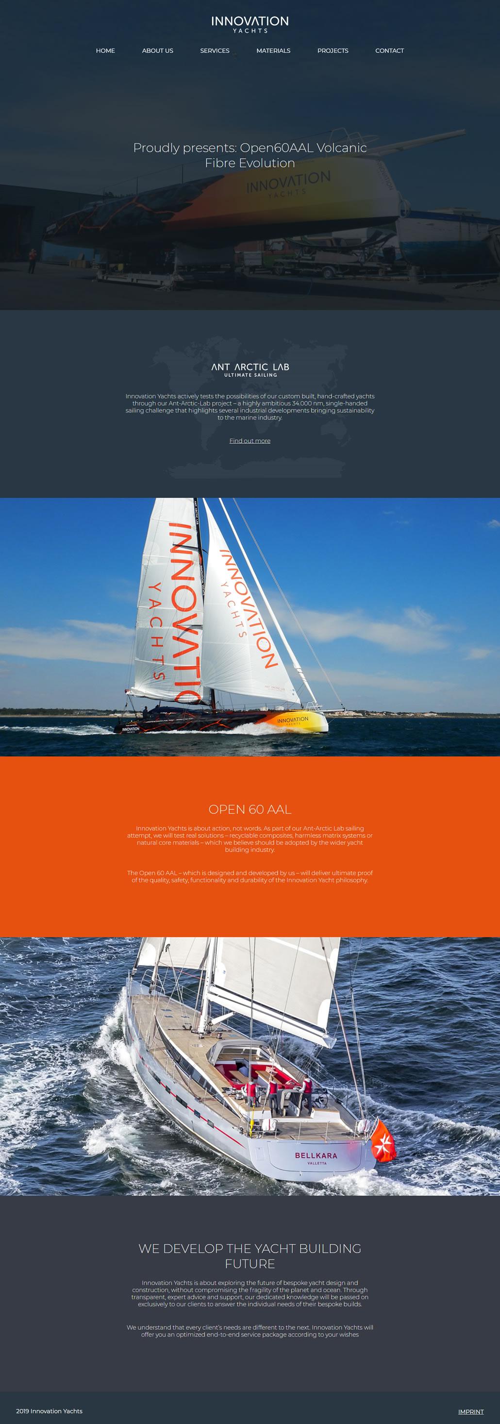 Innovation Yachts built using WordPress, web design by Convoy Media