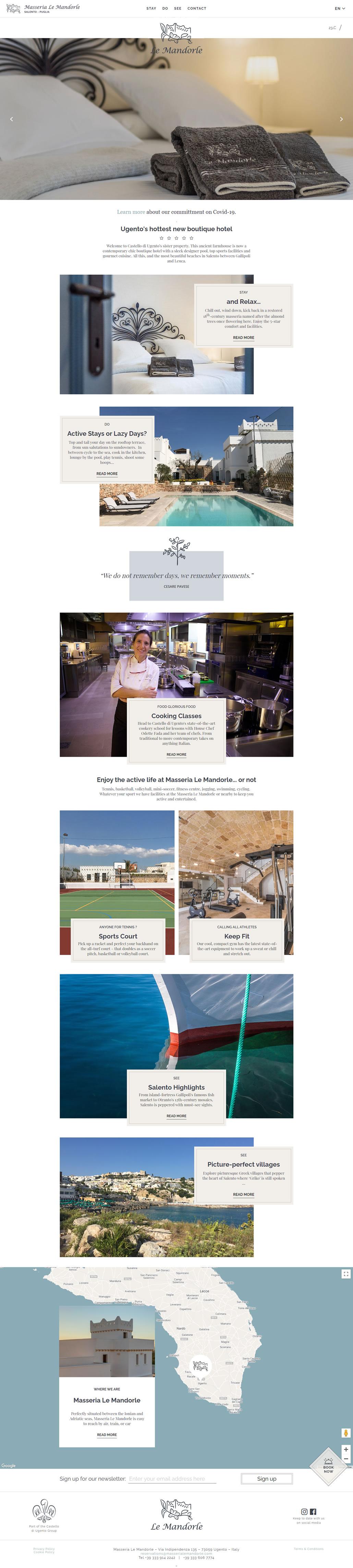 Masseria Le Mandorle built using WordPress, web design by Convoy Media