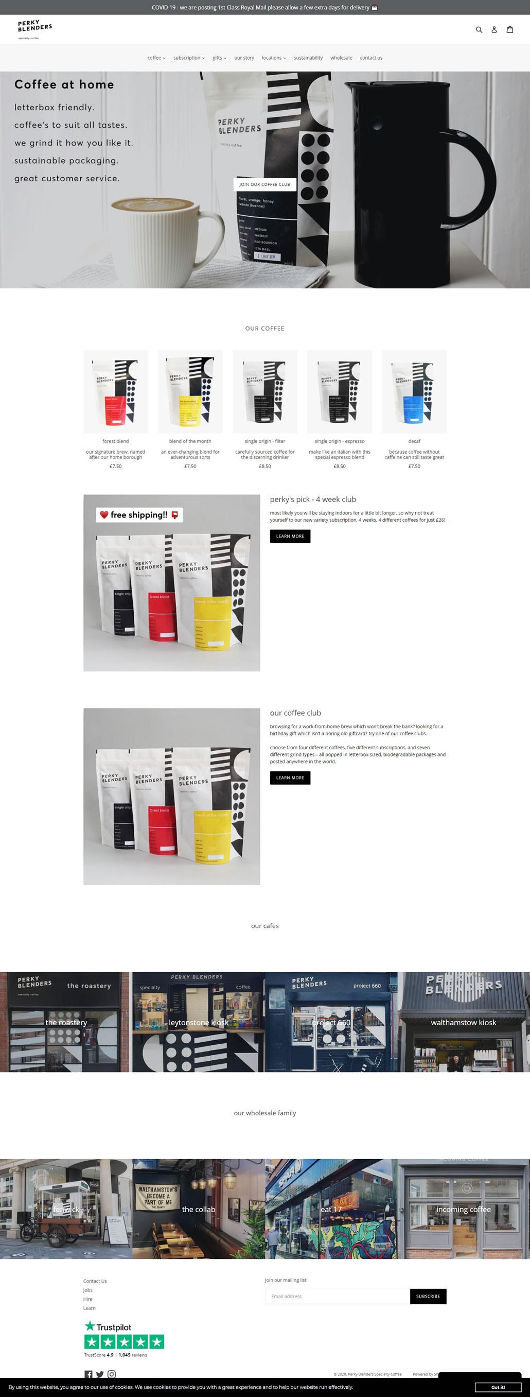 Perky Blenders built using Shopify, web design by Convoy Media