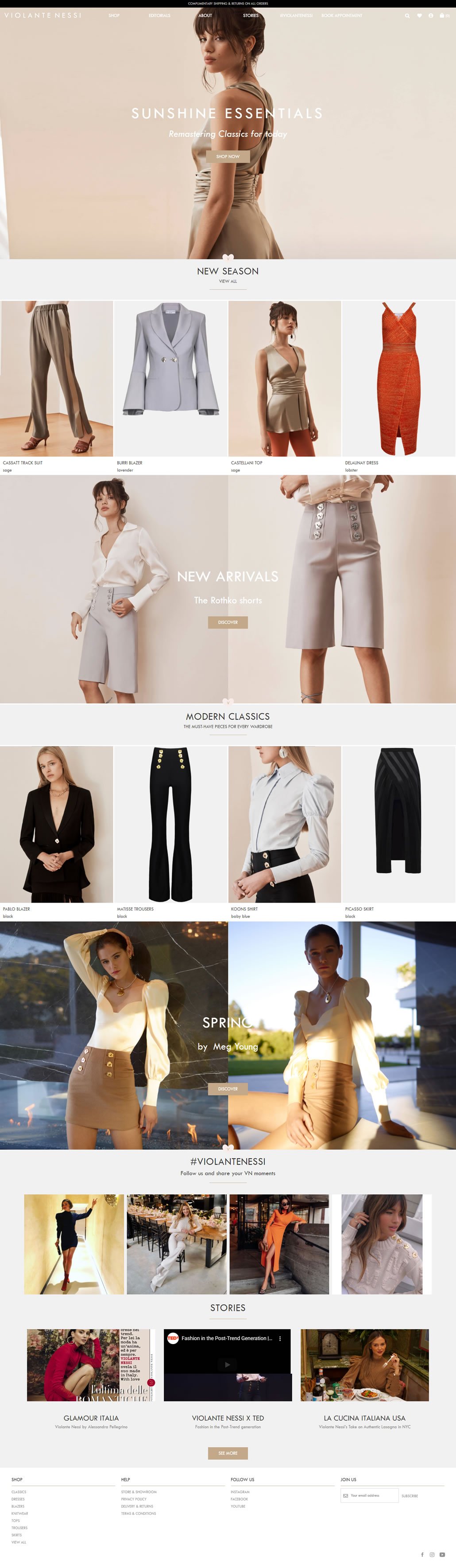 Violante Nessi built using WordPress and WooCommerce, web design by Convoy Media