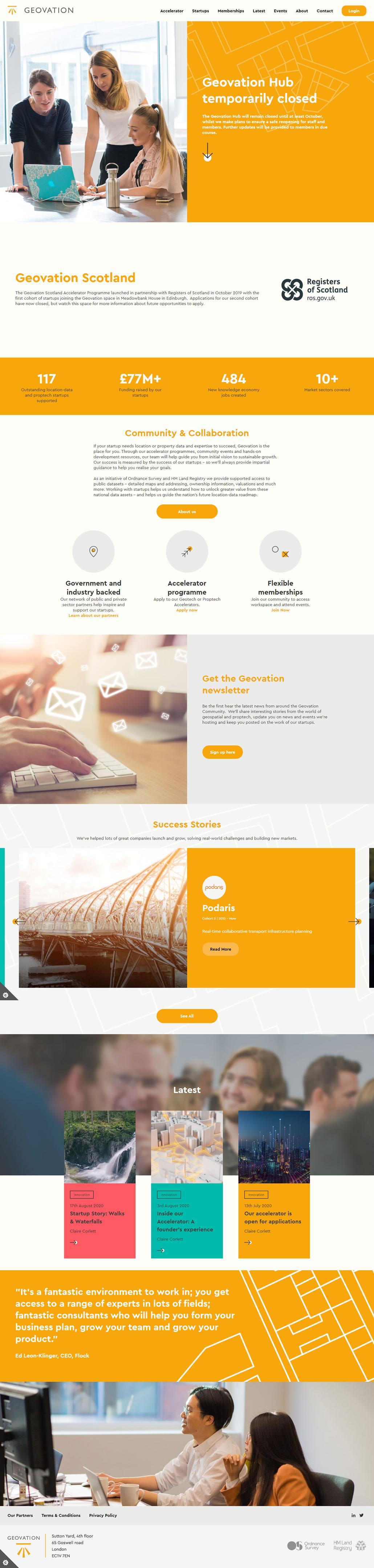Geovation built using WordPress, web design by Convoy Media