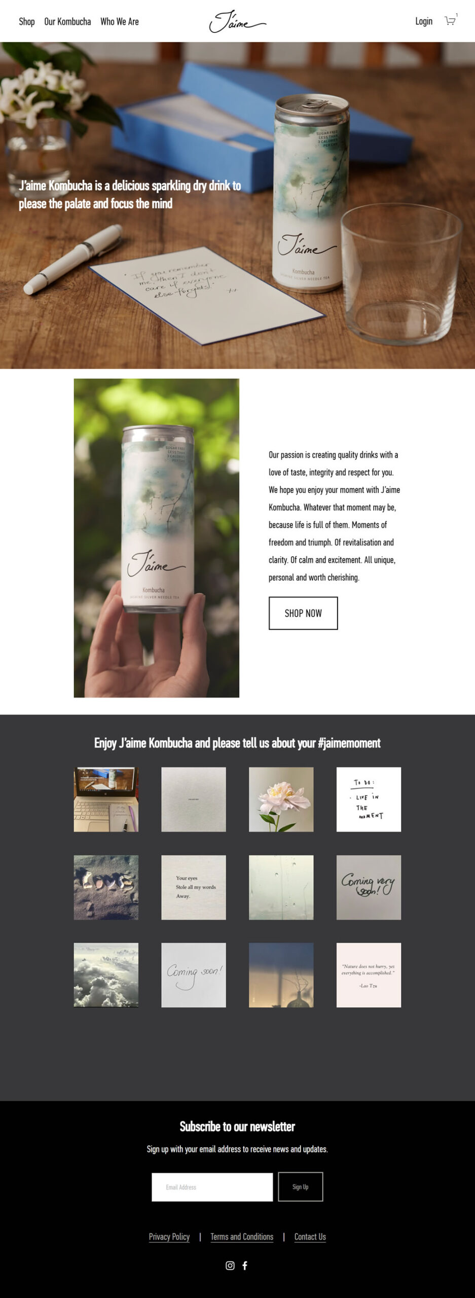 J'aime Drinks built using Squarespace, web design by Convoy Media, Ecommerce